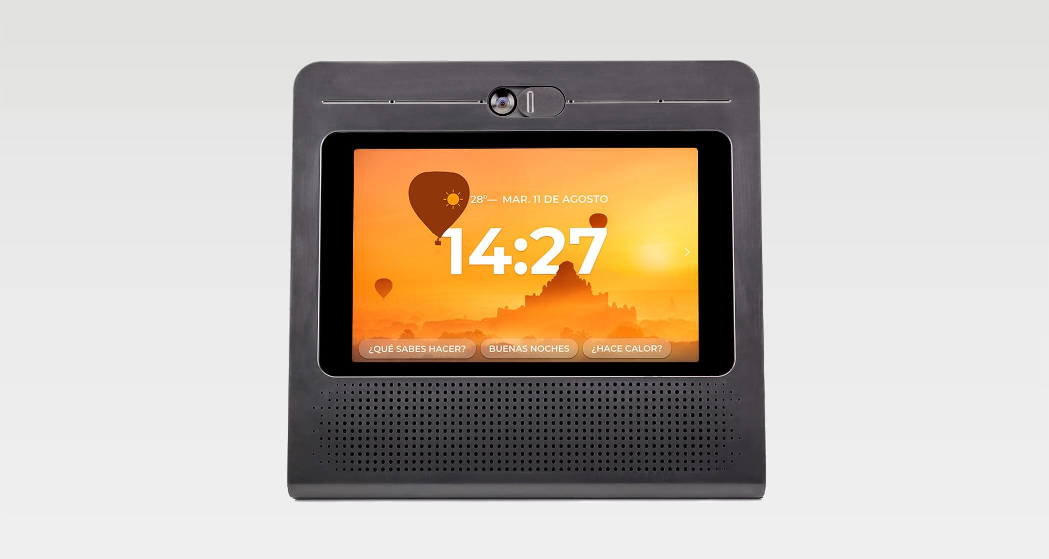 Large 8-inch LED touch screen.